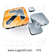 Logo Vector of a Shiny Arrow on an Orange Box near Orange Squares by Beboy