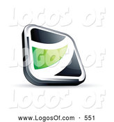 Logo Vector of a Shiny Black Square Button with a Green Wave by Beboy