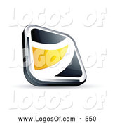 Logo Vector of a Shiny Black Square Button with a Yellow Wave by Beboy