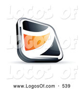 Logo Vector of a Shiny Black Square Button with an Orange Wave by Beboy