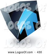 Logo Vector of a Shiny Blue Arrow on a Tilted Black Cube, Above Space for a Business Name and Company Slogan by Beboy