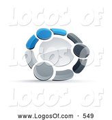 Logo Vector of a Shiny Circle of Three Blue, Gray and Black People Holding Hands by Beboy