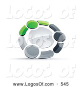 Logo Vector of a Shiny Circle of Three Green, Gray and Black People Holding Hands by Beboy