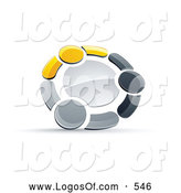 Logo Vector of a Shiny Circle of Three Yellow, Gray and Black People Holding Hands by Beboy