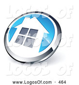 Logo Vector of a Shiny Circular Chrome and Blue Home Button by Beboy