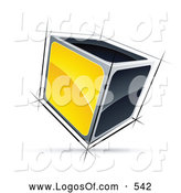 Logo Vector of a Shiny Cube with Yellow and Black Sides by Beboy