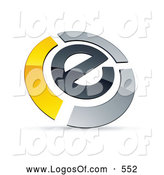 Logo Vector of a Shiny E Circled by Chrome and Yellow Bars by Beboy