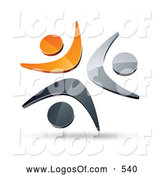 Logo Vector of a Shiny Pre-Made Logo of Three Orange, Chrome and Black People Celebrating or Dancing by Beboy