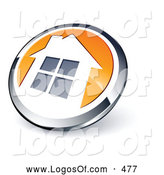 Logo Vector of a Shiny Round Chrome and Orange Home Button Icon by Beboy