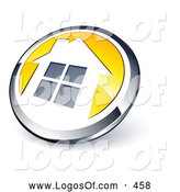 Logo Vector of a Shiny Round Chrome and Yellow Home Button on White by Beboy