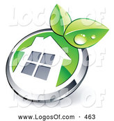 Logo Vector of a Shiny Round Silver and Green Home Button with Leaves by Beboy