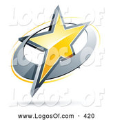 June 20th, 2013: Logo Vector of a Shiny Yellow Star in a Chrome Circle, Above Space for a Business Name and Company Slogan - Coloring Page Outline by Beboy
