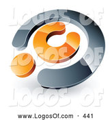 Logo Vector of a Silver and Orange Copyright Symbol, Above Space for a Business Name and Company Slogan on White by Beboy