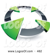 Logo Vector of a Silver Circle with Four Green Arrows Pointing Inwards by Beboy