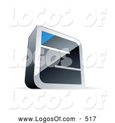 Logo Vector of a Silver Maze with a Blue Triangle at the End by Beboy