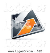 Logo Vector of a Silver or Chrome and Orange Diamond with Arrows by Beboy