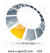 Logo Vector of a Single Yellow Square in a Chrome Dial, Above Space for a Business Name and Company Slogan by Beboy