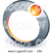 Logo Vector of a Small Orange Ball in a Chrome Ring, Above Space for a Business Name and Company Slogan by Beboy