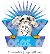 August 21st, 2012: Logo Vector of a Smiling Chefs Hat Mascot Cartoon Character over a Blank Blue Label by Toons4Biz
