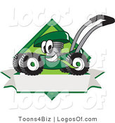 August 7th, 2012: Logo Vector of a Smiling Happy Green Lawn Mower Mascot Cartoon Character Chewing Grass on a Blank Ribbon Label by Toons4Biz