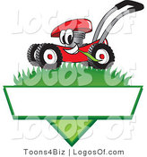 August 3rd, 2012: Logo Vector of a Smiling Red Lawn Mower Mascot Cartoon Character Mowing Grass over a Blank White Label by Toons4Biz