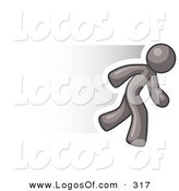 Logo Vector of a Speedy Gray Business Man Running Fast to the RIght by Leo Blanchette