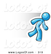 Logo Vector of a Speedy Light Blue Business Man Running Fast by Leo Blanchette