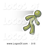 Logo Vector of a Speedy Olive Green Business Man Running Fast by Leo Blanchette