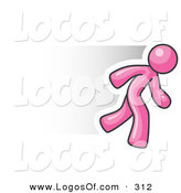 Logo Vector of a Speedy Pink Business Man Running Quick by Leo Blanchette