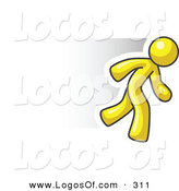 Logo Vector of a Speedy Yellow Business Man Running Quick by Leo Blanchette