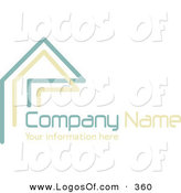 Logo Vector of a Stock Company Logo of Teal and Beige Lines Resembling a Home or Roof, Above Space for a Company Name and Information by KJ Pargeter