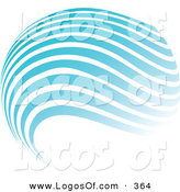 Logo Vector of a Stock Logo of a Globe of Blue and White Horizontal Waves Above a Space for a Company Name and Information on a White Background by KJ Pargeter