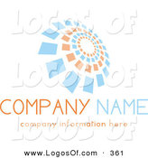 Logo Vector of a Stock Logo of a Group of Orange and Blue Spiraling Squares Above Space for a Company Name and Information by KJ Pargeter