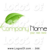 Logo Vector of a Stock Logo of a Large Green Leaf with Dew Drops, Above Space for a Company Name and Information by KJ Pargeter