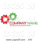 Logo Vector of a Stock Logo of a Pair of Green and Red Working Cogs to the Left of Space for a Company Name and Information by KJ Pargeter