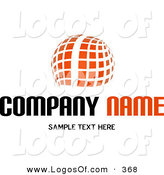 Logo Vector of a Stock Logo of an Orange Globe Made of Curving White Lines and Orange Squares Above a Space for a Company Name and Information by KJ Pargeter