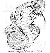 Logo Vector of a Striking Venomous Cobra Snake Hissing Right by AtStockIllustration