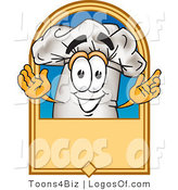 August 31st, 2012: Logo Vector of a White Cooks Hat Mascot Cartoon Character on a Blank Label by Toons4Biz