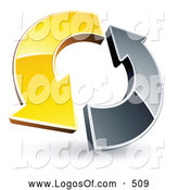 Logo Vector of a Yellow and Chrome Arrow Circling Each Other by Beboy