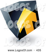 Logo Vector of a Yellow Arrow Pointed up on a Tilted Black Cube, Above Space for a Business Name and Company Slogan by Beboy
