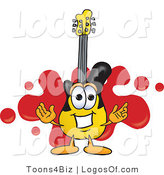 Logo Vector of a Yellow Guitar Mascot and Red Splat by Toons4Biz
