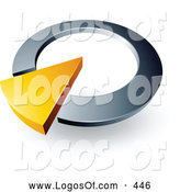 Logo Vector of a Yellow Triangular Arrow in a Silver Circular Dial, Above Space for a Business Name and Company Slogan by Beboy