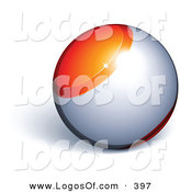Logo Vector of an Orange and Silver Orb Above Space for a Business Name and Slogan, on a White Background by Beboy