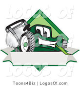 August 13th, 2012: Logo Vector of an Outgoing Green Lawn Mower Mascot Cartoon Character on a Blank Label by Toons4Biz