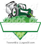 August 12nd, 2012: Logo Vector of an Outgoing Green Lawn Mower Mascot Cartoon Character on a Logo by Toons4Biz