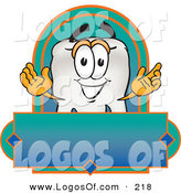 Logo Vector of an Outgoing White Tooth Mascot Cartoon Character on a Blank Label by Toons4Biz