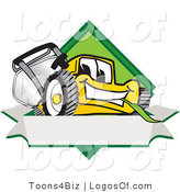 August 10th, 2012: Logo Vector of an Outgoing Yellow Lawn Mower Mascot Cartoon Character Facing Front on a Diamond Shaped Logo with a Blank White Banner by Toons4Biz
