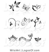 Logos of Black and White Organic Icons by MilsiArt