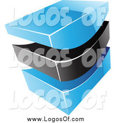 Vector Clipart of a 3d Blue and Black Swoosh Logo by Cidepix