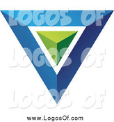 Vector Clipart of a 3d Blue and Green Triangle or Pyramid Logo by Cidepix